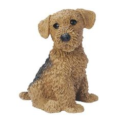 Airedale Puppy Dog Statue by Design Toscano. $24.95. Cast in quality designer resin. Design Toscano exclusive. Hand painted. CF2469 Features: -Hand painted.-Finely sculpted ''living'' eyes.-Design Toscano exclusive. Construction: -Quality designer resin construction.