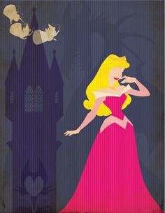 Minus the fairies and Aurora, use paint splashes/sections the three fairy colours, keep Maleficent and the tower