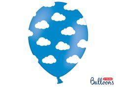 """Balon lateksowy 12"""" (30 cm) Chmurki niebieskie z pięciostronnym nadrukiem. Doskonała dekoracja na przyjęcie urodzinowe dla chłopca albo na baby shower."""