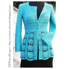 (4) Name: 'Crocheting : BLUE LACE CARDIGAN
