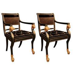 Fine Pair of Regency Arm Chairs   1stdibs.com