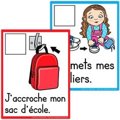 School procedure steps in French Teaching French Immersion, French Teaching Resources, French Classroom, Classroom Organisation, French Teacher, French Lessons, Kindergarten Classroom, Learn French, First Day Of School
