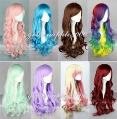 8 Colors Lolita Long Curly Wavy Cosplay  Wig  26 Inch High Temp Free Shipping #FullWig