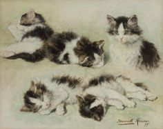 Henriette Ronner-Knip (Dutch, 1821-1909) - Kitten oil-sketches on panel.  Things of beauty I like to see