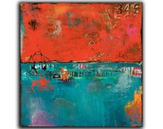 Abstract Painting 24x24 red and blue wall art by Erin Ashley