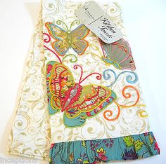 Lovely Artistic Accents Cotton Kitchen Tea Towel Embroidered Butterflies Ruffle    NEW