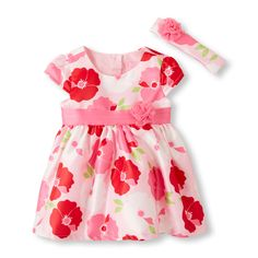 Baby Girls Short Sleeve Flocked Floral Flare Dress, Diaper And Headwrap Set