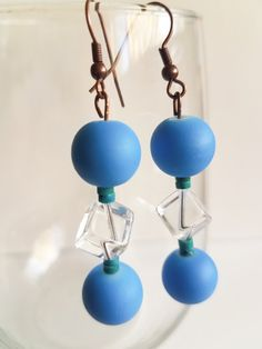 Blue drops and clear cube earrings with green beads