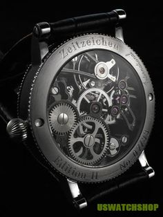 PVD coated skeletonized Asian 6497 mechanical watch movement.