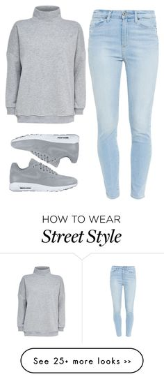 """""""comfy street style"""" by teensallover on Polyvore featuring Paige Denim, NIKE, StreetStyle, jean and grey"""
