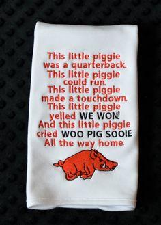 Personalized Football This Little Piggie Arkansas Applique Burp Cloth on Etsy, $23.00