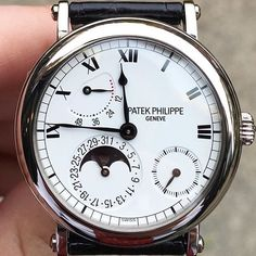 Vintage Watches Collection  : Timeless and elegant Patek Philippe 5054 in white gold with half hunter case. Now live and for sale on our app. Download in bio! #forsale #patekphilippe #5054 #europeanwatchco