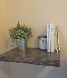 Floating Nightstands with TurnBuckles - Modern Bedside Table - Rustic Wood Shelf - Farmhouse Decor - Small Space Decor