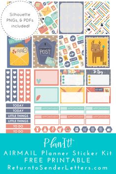 PlanIt! Airmail Weekly Kit - FREE printable planner stickers | Return to Sender: Letters to the World