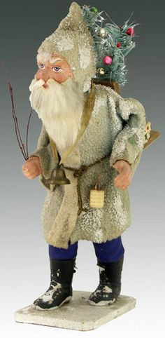 German Father Christmas Striding Santa in pale gray wooly robe, hunched over with wood carrier on back holding a feather tree decorated with miniature glass ornaments German Christmas, Old Fashioned Christmas, Christmas Past, Victorian Christmas, Vintage Christmas Ornaments, Father Christmas, Glass Ornaments, Christmas Things, Vintage Holiday