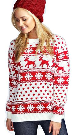Red Olives® Womens Ladies Christmas Jumper Double Twin Rudolph Novelty Xmas Sweater Top UK 8-26: Amazon.co.uk: Clothing