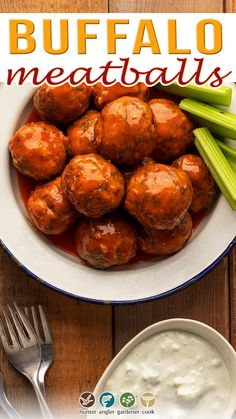 Buffalo meatballs are easy to make, take less than an hour, and are very, very versatile. Since they work with any finely ground meat, you could of course make Buffalo chicken meatballs with ground chicken, or buffalo Buffalo meatballs with bison meat. Ground turkey is common. I used ground venison here. At it's core, this recipe is simply classic Buffalo sauce — Frank's hot sauce, butter, and, if you really want to, some honey... | @huntgathercook #hankshaw #bestbuffalomeatballs Venison Recipes, Gf Recipes, Lunch Recipes, Easy Dinner Recipes, Appetizer Recipes, Healthy Recipes, Family Recipes, Healthy Meals, Delicious Recipes