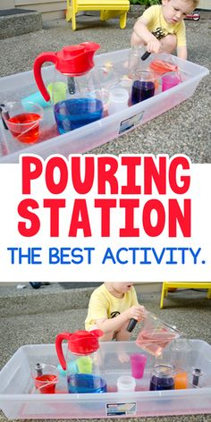 Pouring Station Activity for Toddlers - Busy Toddler