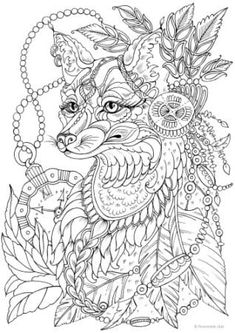 Fantasy Fox - Printable Adult Coloring Page from Favoreads (Coloring book pages for adults and kids, Coloring sheets, Coloring designs) Scary Coloring Pages, Fox Coloring Page, Coloring Pages For Grown Ups, Printable Adult Coloring Pages, Animal Coloring Pages, Coloring Pages To Print, Coloring Sheets, Coloring Books, Kids Coloring