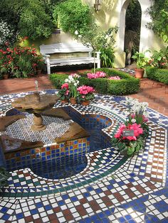 Moorish Garden Fountain 2 by jwinterscom, Mediterranean Style mosiac patio Outdoor Rooms, Outdoor Gardens, Outdoor Living, Outdoor Patios, Outdoor Kitchens, Spanish Style Homes, Spanish House, Spanish Revival, Spanish Colonial