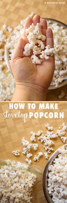 Plain and simple recipe for how to make stovetop popcorn for an after school snack, lunch box item, or movie night treat. No-burn method easily makes 4 quarts worth!