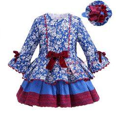 Pettigirl 2017New chica otoño vestido floral azul del arco de la alta cintura de múltiples capas Boutique Casual ropa para Niños G-DMGD908-1007