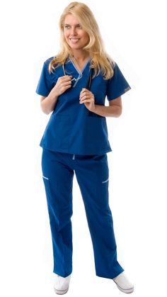 Women's Contrast Mock Wrap Sporty Medical Scrubs