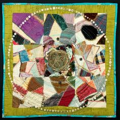 "Amy Meissner - ""The Fragile Domestic"" (30"" x 30"" x 3"") Vintage quilt & drapery, clothing, found objects. Machine pieced, hand embroidered, hand quilted, 2014."