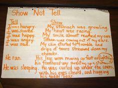 Writing mini lesson.  Show, don't tell.