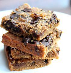 Spokane Dinner Club: Chocolate Chip Chickpea Blondies with Sea Salt - No flour, no sugar, vegan