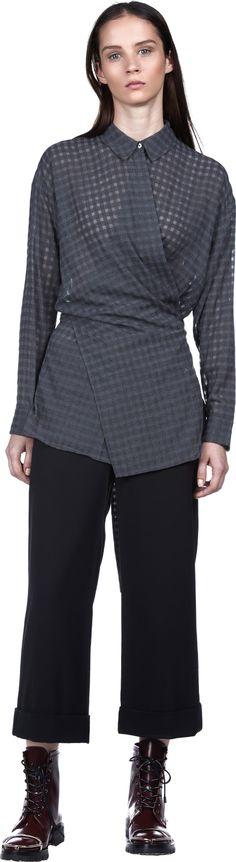 Long Sleeve Wrap Tie Blouse | T by Alexander Wang | LOIT
