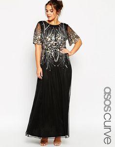 ASOS Curve | ASOS CURVE RED CARPET Gold & Black Sparkle Mesh Maxi Dress at ASOS