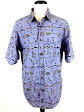 WOOLRICH Mens Blue FISHING Button Up COTTON Short Sleeve CAMP Shirt L *Nice!