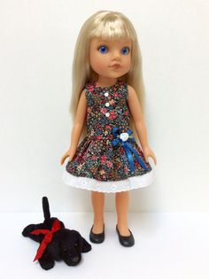 14 Inch Hearts For Hearts Doll Black Flower Print by JGooseandCo