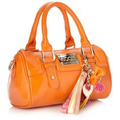 Orange Small Textured Patent Bowler Bag ($44) ❤ liked on Polyvore