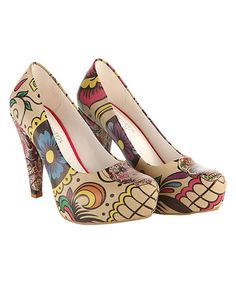 This Goby Beige & Red Sugar Skull Platform Pump by Goby is perfect! #zulilyfinds
