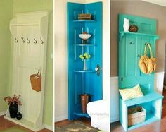 Awesome ideas to upcycle old doors. I think i am going to try the corner shelf one, as soon as i can find am old door.
