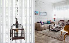 A gaiola é, na verdade, uma luminária, feita por Amauri Pacheco. Ela fica no canto da sala que mistura os estilos vintage e industrial, decorada pelo designer de interiores Marcel Steiner