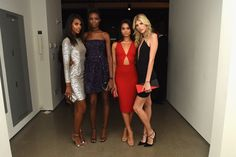 Grace Mahary in Michael Kors Collection, Maria Borges in Michael Kors Collection, Shanina Shaik in Michael Kors Collection, and Devon Windsor in Michael Kors Collection