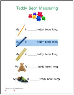 A printable for using Teddy Bear Counters to measure common items in a preschool…