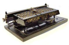 American Visible (straight), no serial number (USA, early Antique Typewriter, Cash Register, Vintage Typewriters, Penmanship, Retro Vintage, Tins, American, Phones