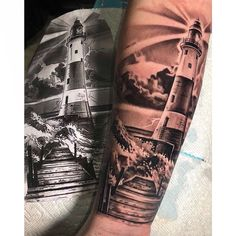 Lighthouse tattoo done by IG: fameonerr