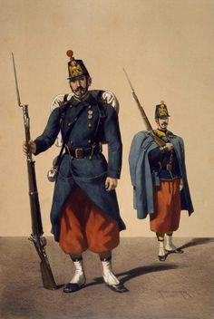 Armеe de ligne 1859. Infanterie de ligne grenadier et fusilier en tenue de route
