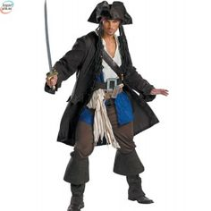 Pirates of the Caribbean - Captain Jack Sparrow Prestige Adult C Description: Yo ho ho and a bottle o' rum. Get the look you want with our Pirates of the Caribbean 3 Captain Jack Sparrow Presti Adult Pirate Costume, Halloween Costumes For Teens, Boy Costumes, Disney Costumes, Halloween Fancy Dress, Adult Costumes, Adult Halloween, Pirate Costumes, Costume Halloween