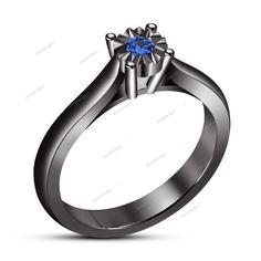 Round Blue Sapphire 925 Sterling Silver 14k Black Gold Plated Engagement Ring #aonedesigns