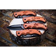 Engraved Groomsmen Gift - Personalized Knife - Custom Pocket Knives- Groomsman Husband Hunting Man Mens Boyfriend Wedding Gifts Folding Blade Rustic Buck Knifes Spring Assisted Opening