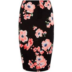 Black Floral Print Pencil Skirt ($7.74) ❤ liked on Polyvore featuring skirts, bottoms, calf length pencil skirts, floral printed skirt, floral skirts, holiday skirts and knee length pencil skirt