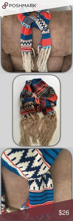 ❄️💙NWT Vibrant  Red/Blue Aztec Fringe Scarf💙❄️ 💙This is one of my favorite scarfs! I get loads of compliments when I wear mine! It is soft and the colors are gorgeous! It is also very warm!❄️💙❄️💙❄️💙❄️❄️❄️❄️❄️❄️❄️ Boutique Accessories Scarves & Wraps