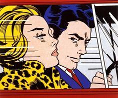 In the Car (1963) - Je ziet dat er veel aan de hand is en het moet snel gebeuren. De snelheid wordt goed weergeven en de emoties komen goed over. De blauwe gloed in het zwarte haar is apart, maar geeft een sexy draai aan de man. De vrouw is een echte diva, haar bontjas weergeeft met mooi luipaarden print haar status aan. Je wilt graag te weten komen wat het verhaal achter de snelheid is van het kunstwerk. Het is mooi dat de vrouw zalm kleurige lippen heeft, dat maakt het wat rustiger.