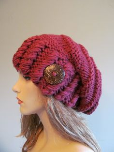 Slouchy Beanie Slouch Hats Oversized Baggy Beret Button Womens Fall Winter accessory Fuchsia Super Chunky Hand Made Knit. $45.99, via Etsy.
